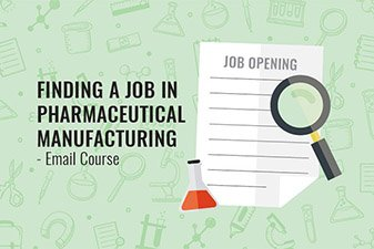 image-of-job-advert-magnifying-glass-and beaker-suggesting-email-course-finding-a-job-in-pharmaceutical-manufacturing