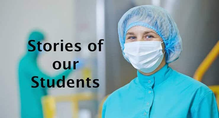 Photo of woman in pharmaceutical plant with text that says stories of our students