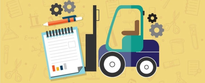 An image of a forklift combined with a clipboard to suggest the role of a packaging operator