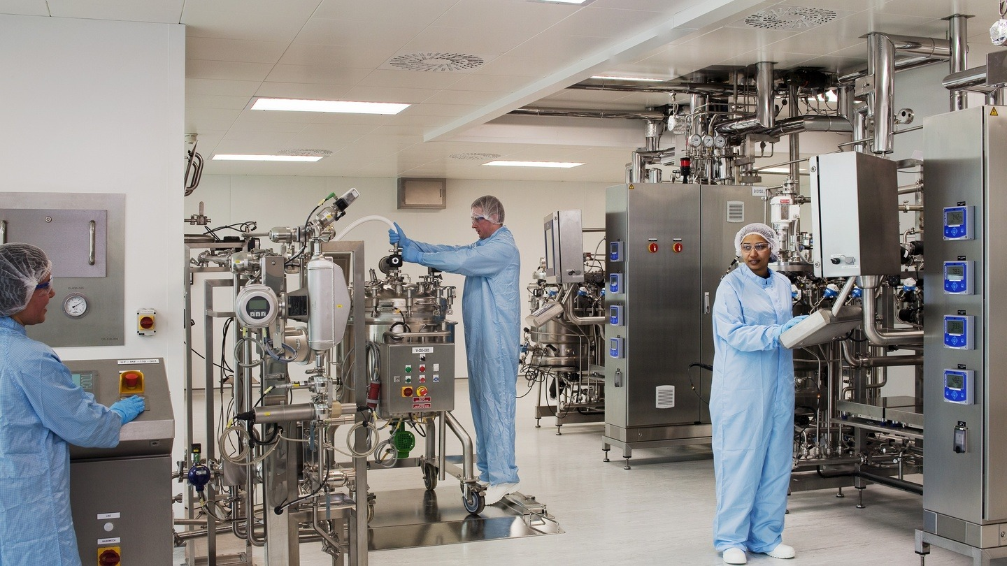 Process Technicians working in a pharmaceutical factory