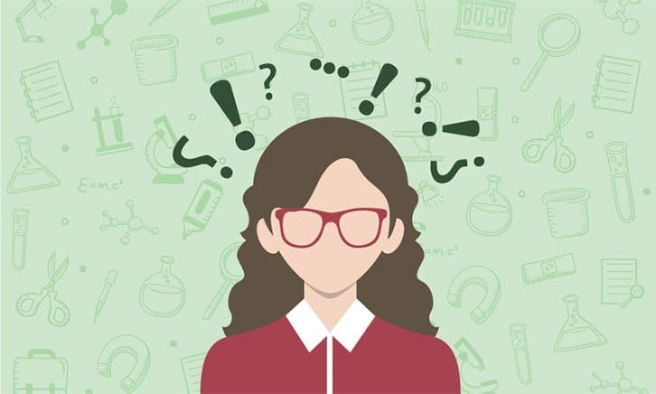 cartoon-showing-woman-with-question-marks-above-her-head-showing-shes-not-sure-about-the-type-of-pharmaceutical-job-she-can-get