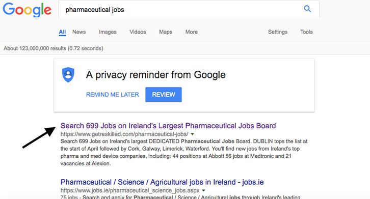 image showing google search result for query pharmaceutical jobs