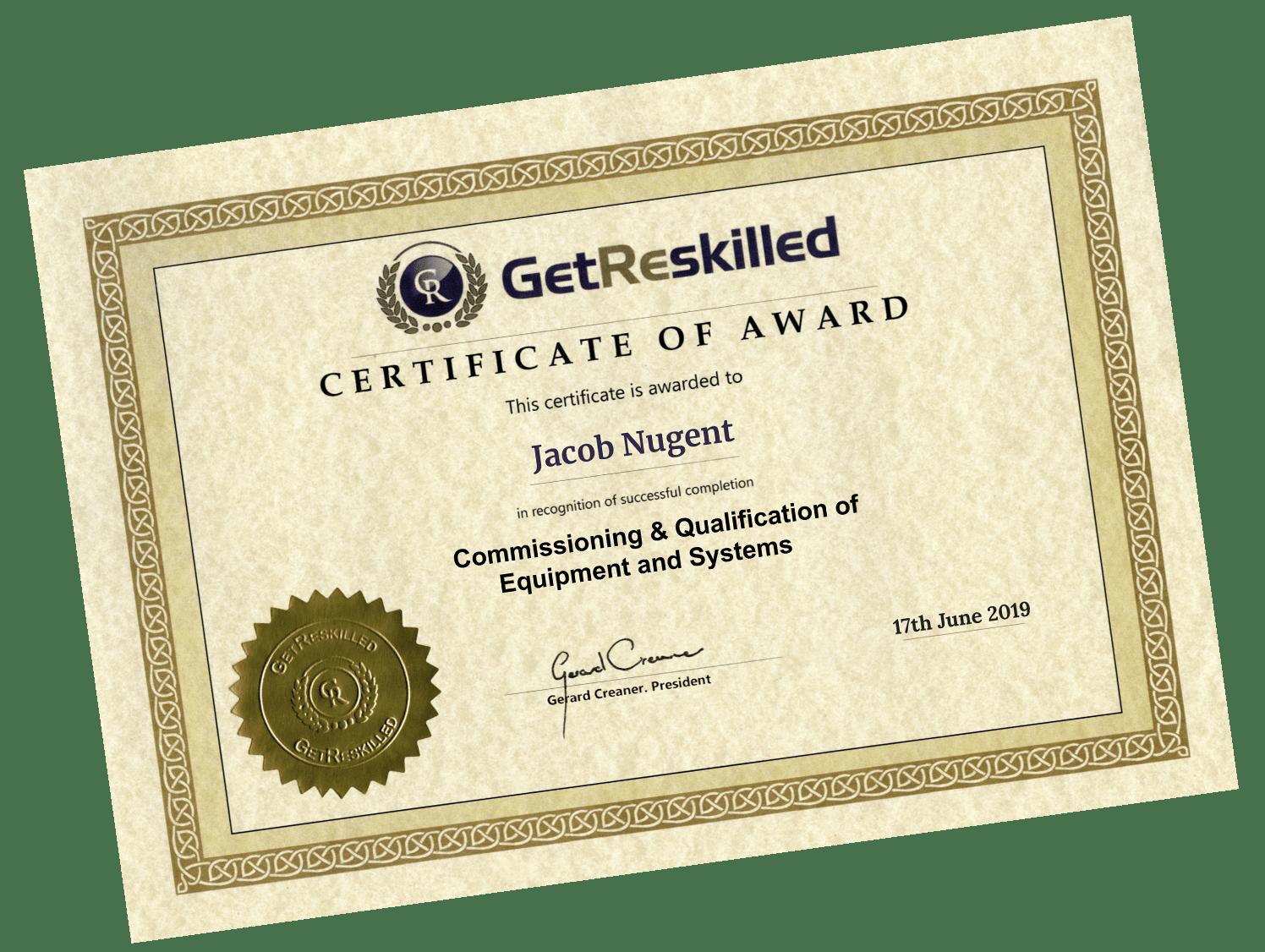 IQ OQ PQ Certificate