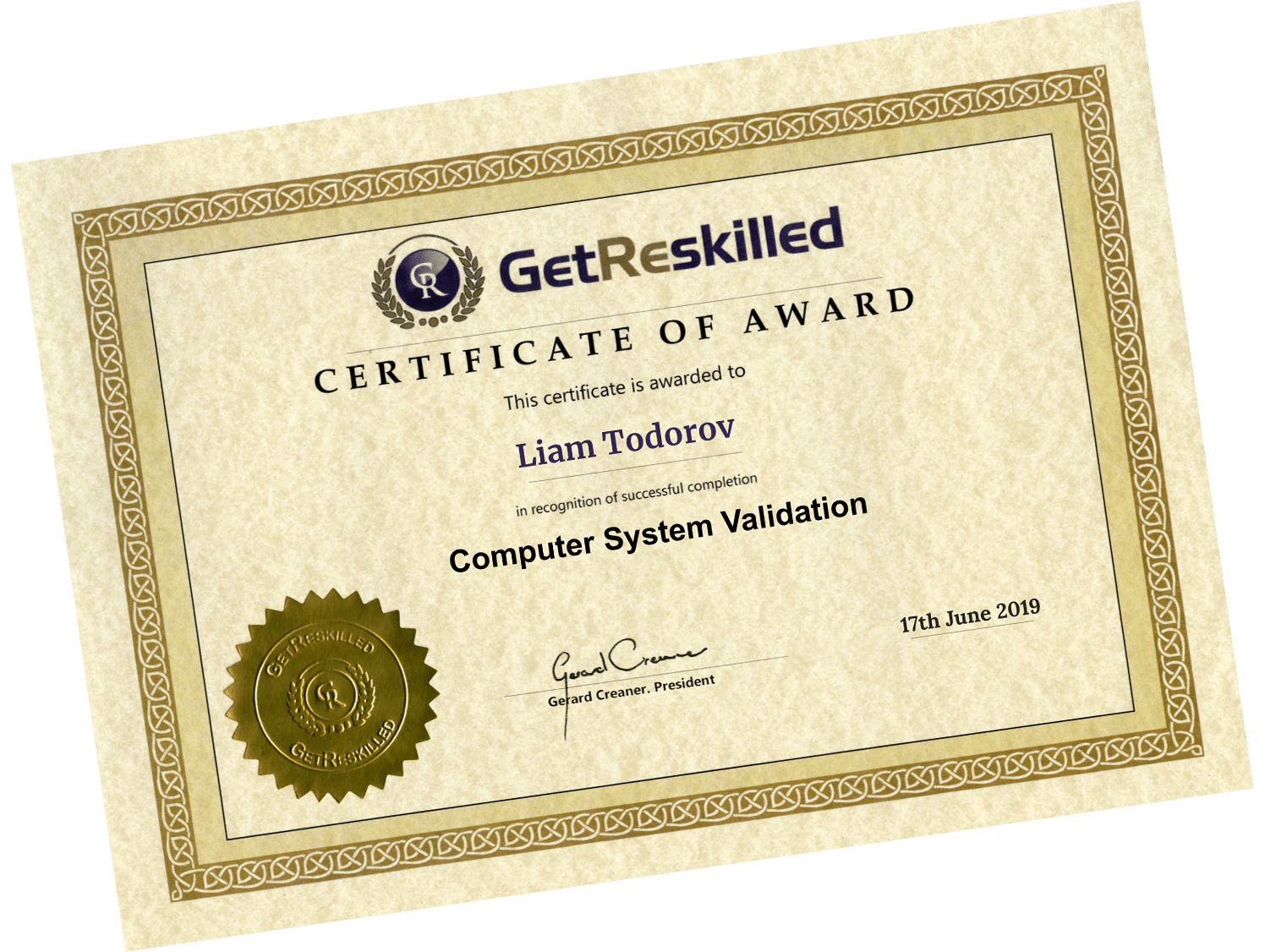 Computer System Validation Certificate