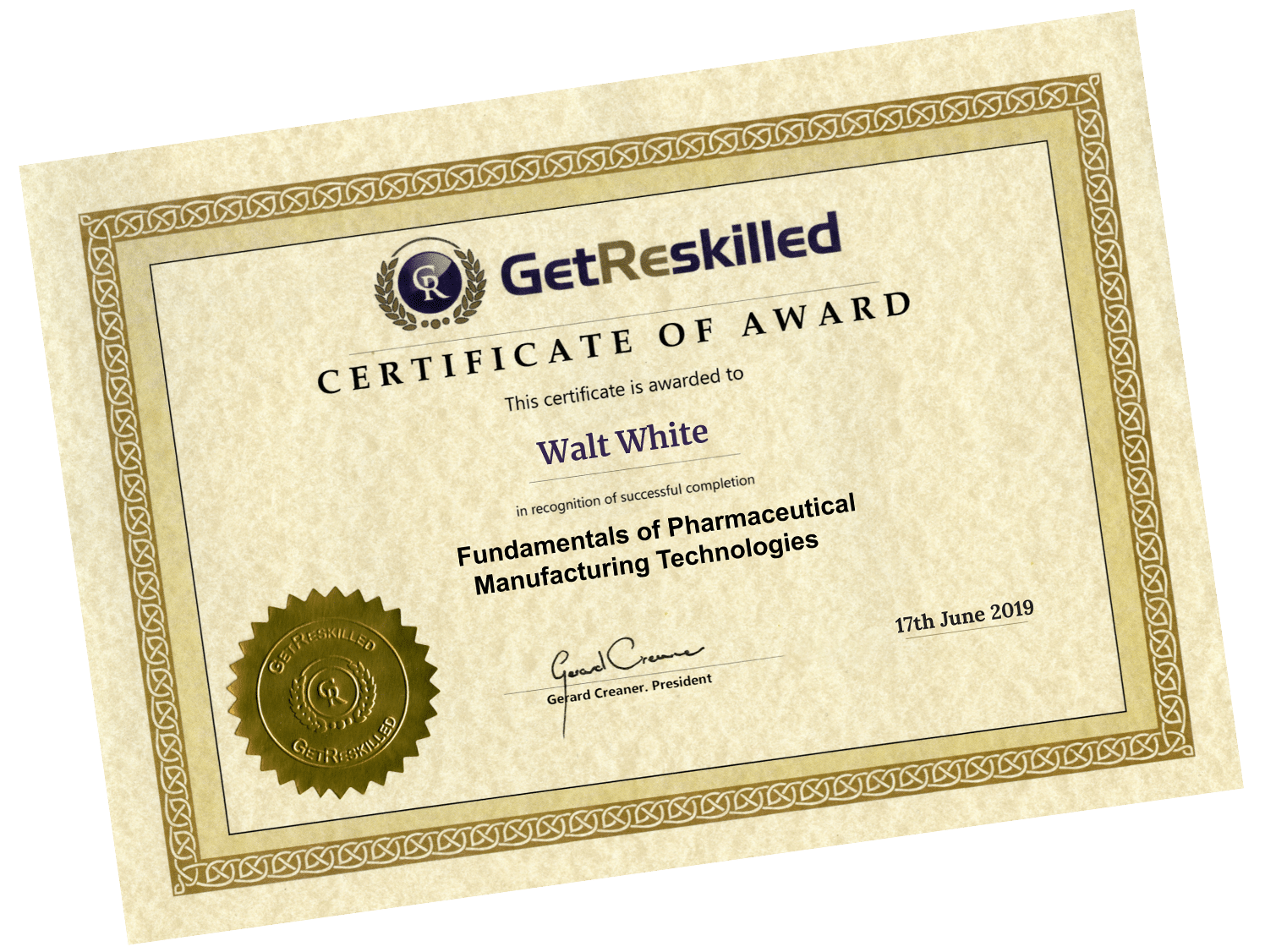 Fundamentals of Pharmaceutical Manufacturing Technologies Course Certificate