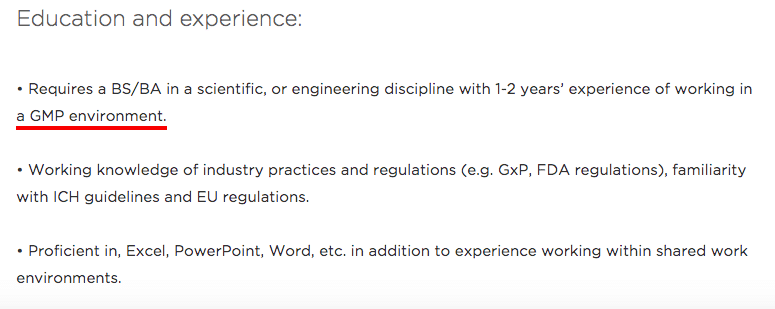 Example of a pharmaceutical job advert with no experience required