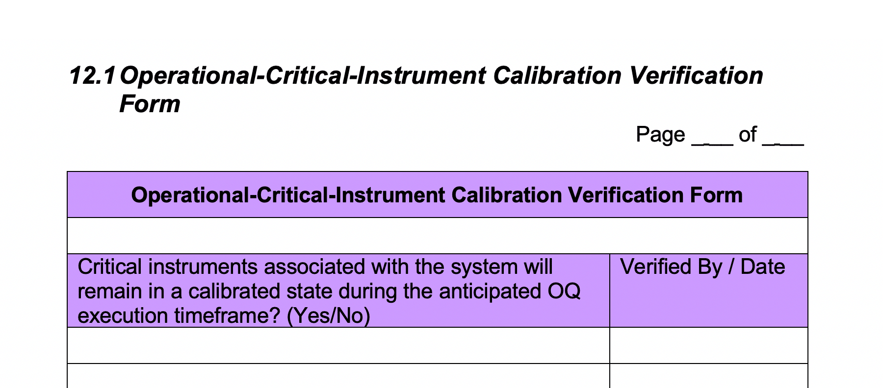 Operational Critical Instrument Calibration Verification Form GetReskilled