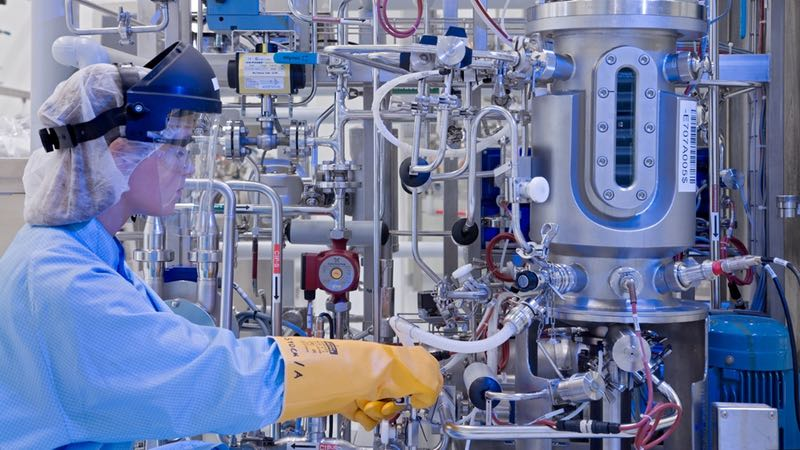 Working in a pharmaceutical factory