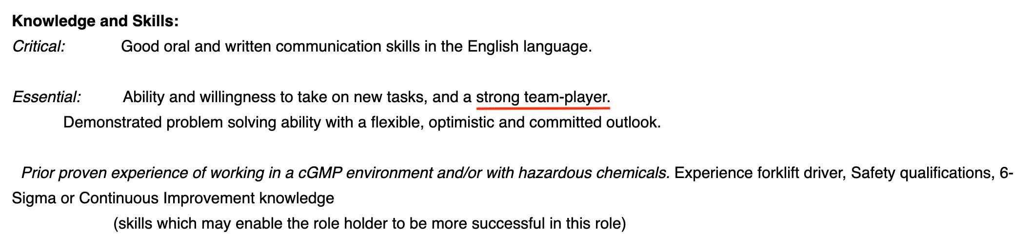 Example pharma job advert
